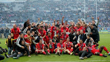Saracens players celebrate winning the Champions Cup Final at St James' Park, Newcastle. Picture: RI
