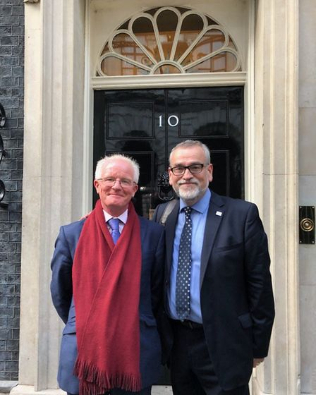 Meldreth's Steve Mallen - pictured outside No 10 Downing Street with Joe Rafferty, chief executive a