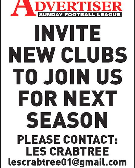 Recruitment poster for the Herts Advertiser Sunday League who are looking for new clubs.