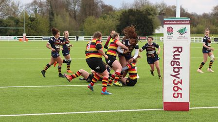 OA Saints in action against Harrogate in the final of the Women's Intermediate Cup. Picture: EMMA CO