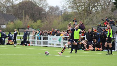Beth Saunders in action for OA Saints against Harrogate in the final of the Women's Intermediate Cup