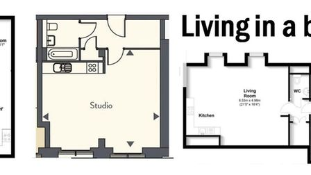 Small but perfectly formed: (left to right) Ziggurat House in Grosvenor Road, St Albans, 457sq ft; G