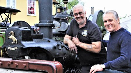 Pub landlord, Russell Wollaston with engine owner, Michael Swain. Picture: Clive Porter