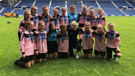The St Ivo Academy Under 15 Girls team pictured with England Women's captain Steph Houghton. Picture