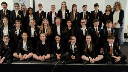 Beaumont School students, St Albans, who won the water competition.
