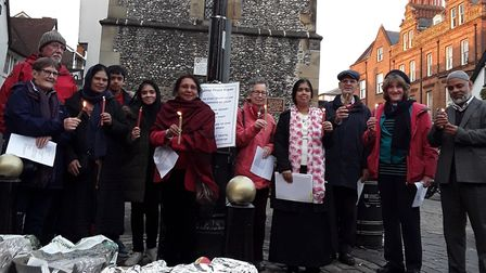Attendees to the peace vigil held at St Albans Clock Tower this May. Picture: Syeda Momotaz Rahim