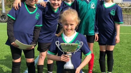 The winning Crosshall team from the first Year3/4 Girls Football tournament. Picture: SUBMITTED
