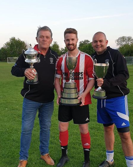 Manager Geoff Mills, captain Sam Plumb and assistant boss Dave Jackson parade Bassingbourn's three t