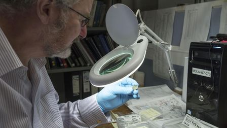 Dr Julian Bowsher examines the rare coin. Picture: HIGHWAYS ENGLAND