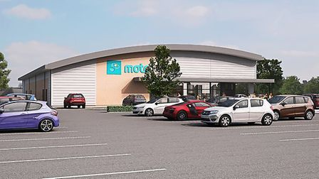 An artists impression of what the new service station in Sawtry could look like