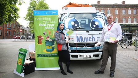 Munch the hungry food waste truck is teaching children about recycling food waste in Harpenden. Pict