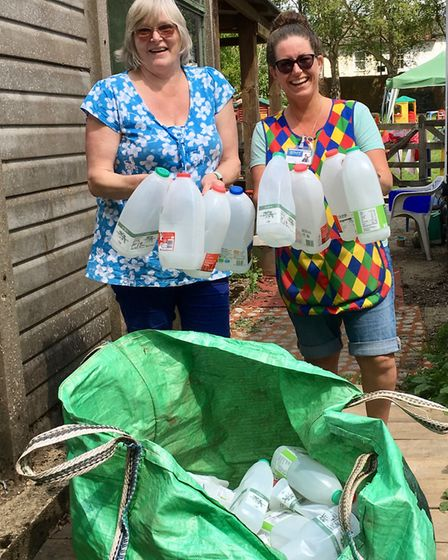 Old London Road Pre-School collecting plastic bottles to make a playground igloo - before trialling