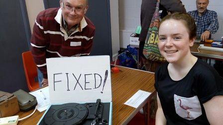 A record player was fixed at the St Luke's upcycling fair. Picture: Submitted by Sustainable St Alba