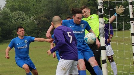 Facelad score from a corner against AFC Mymms. Picture: BRIAN HUBBALL