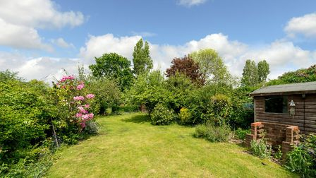 The rear garden has a large lawn, a patio area and a shed. Picture: Bradford & Howley