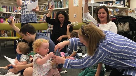 Parents and children at Harpenden Library 'Shaker Party' reycycled crafts event in the St Albans Sus