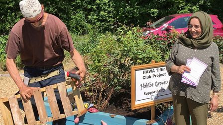 Herts Asian Women's Association event: Ozzie demonstrating constructing garden furniture with recycl