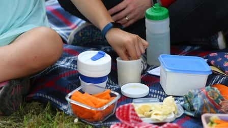 L-R Megan, 12 and Natalie Edwards and Nicola and Anna Wyeth, six enjoy a plastic-free picnic in Harp