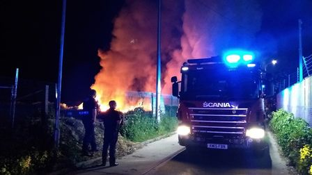 A bonfire spiralled out of control in Cambridge Road, St Neots. Picture: CFRS