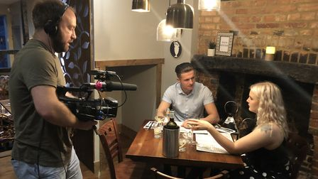 ITVBe filming Dinner Date in St Albans' Per Tutti on Holywell Hill. Picture: Olga Sipcenoka