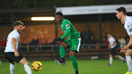 Solomon Nwabuokei in action for Biggleswade Town. Picture: KEVIN RICHARDS