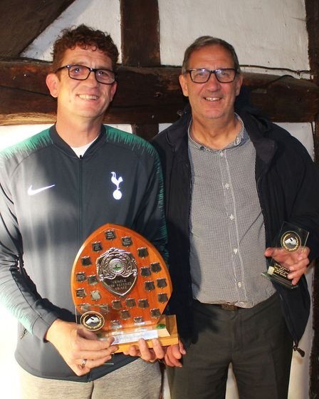 Paul Mott (left), the winner of the top referee award in the Herts Advertiser Sunday League, and run