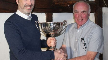 Herts Advertiser Sunday League chairman Jim Lynch presents the Golding Cup to Allan Johnston of Welw