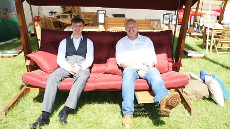 Herts County Show 2019 - Dominic and Kevin Barton - Oliver Heartwood - Outdoor Furniture.Picture: