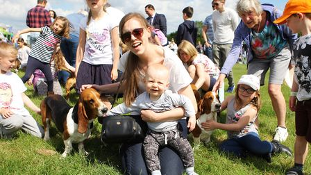 Herts County Show 2019 - Carlie McKoy and George McKoy, 1, enjoy the Bassett Hounds.Picture: Kary