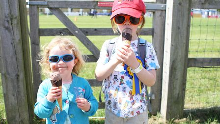 Herts County Show 2019 - Felix Purcell, 6, and Imogen Purcell, 3, enjoy ice creams.Picture: Karyn