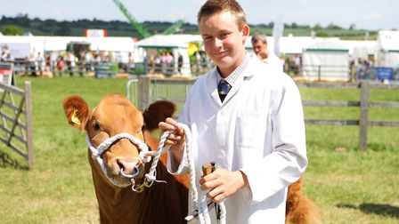 Herts County Show 2019 - Display of Cattle and Livestock - Joshua Jack with Smartie.Picture: Karyn