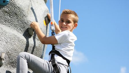 Herts County Show 2019 - Jensen Lacey, 9, enjoys the climbing wall.Picture: Karyn Haddon