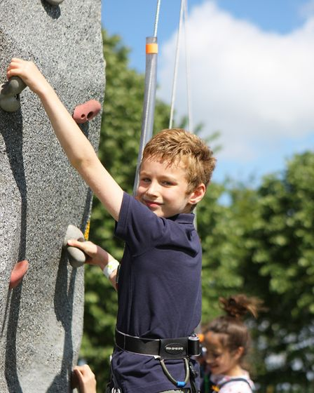 Herts County Show 2019 - Ollie Whiteson, 9, enjoys the climbing wall.Picture: Karyn Haddon