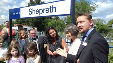 The group with Patrick Ladbury of GTR. Picture: Meldreth, Shepreth and Foxton Community Rail Partner