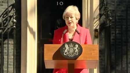 Theresa May on the BBC this morning outside Number 10 making her resignation speech.