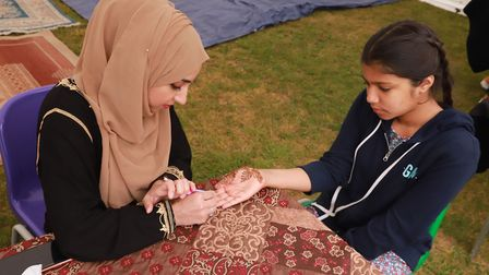 Henna was offered as part of the celebration.