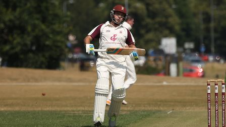 Harpenden's Nick Lamb hit an unbeaten 117 against West Herts. Picture: DANNY LOO