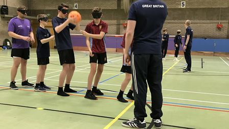 Students at St Ivo Academy taking part in the goalball event. Picture: SUBMITTED