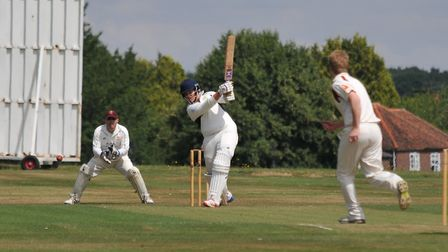 Redbourn's Ed Hales was in supreme form with the bat against Bushey. Picture: DANNY LOO