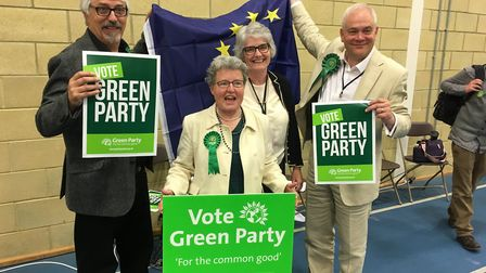 New Green Party MEP Dr Catherine Rowett with her colleagues after the result was declared. Picture: