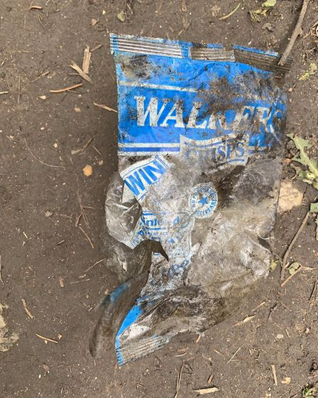 The Walkers crisp packet from 1991, found by the Ver Valley Society in the River Ver. Picture: Plast
