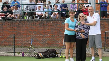 Sue Bird (centre) with Elaine Bolt and Peter Bush, the winners of the Simon Bird Charity Tennis Tour