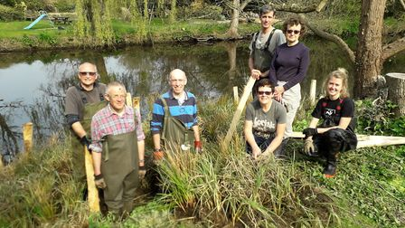 The team of volunteers who helped to restore the River Lea at Wheathampstead. Picture: Herts and Mid