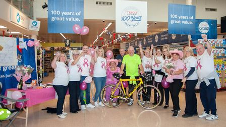 Bob Whiteman with his support crew after the ride at Tesco St Neots