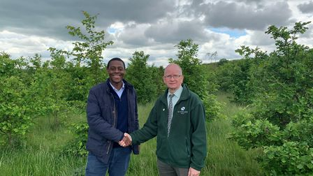 Hitchin and Harpenden MP Bim Afolami and Woodland Trust lead government affairs officer, Richard Bar