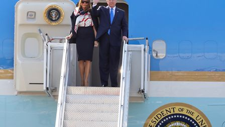 Donald and Melania Trump arrive at Stansted Airport. Picture: CELIA BARTLETT PHOTOGRAPHY