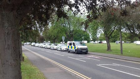 Herts police enforced a section 61 order on the travellers parked on St Albans Bernards Heath. Pictu