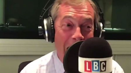 Nigel Farage was visibly rattled by some simple questions from a caller into his LBC show. Picture: