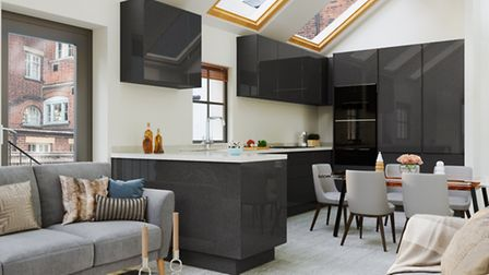 CGI of the open plan open plan living/kitchen/dining room at 25c Alma Mews. Picture: Clarence Proper