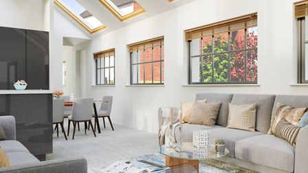 CGI of the light living area, which has a vaulted ceiling. Picture: Clarence Property Group